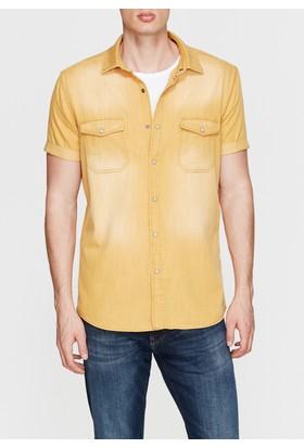 Mavi Erkek Kısa Kollu Sarı Gömlek