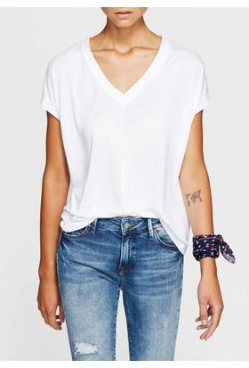 Mavi Kadın V Yaka Beyaz Basic Tshirt