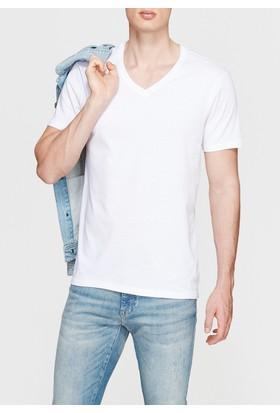 Mavi Erkek V Yaka Beyaz Basic Tshirt