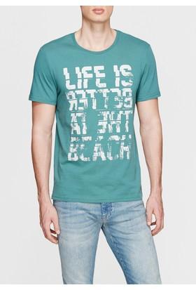 Mavi Erkek Bisiklet Yaka Fearless Baskılı Yeşili Tshirt