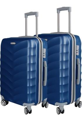 Liveup Mavi Orta & Büyük Boy Bavul Valiz Seti VZ314-400-Ml