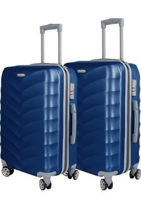 Liveup Mavi Küçük & Orta Boy Bavul Valiz Seti VZ314-400-Sm