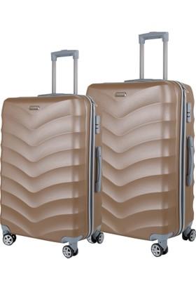 Liveup Gold-Altın Küçük & Orta Boy Bavul Valiz Seti VZ314-900-Sm