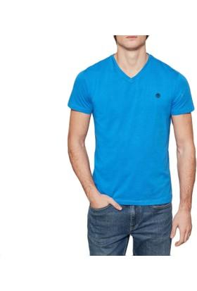 Timberland Mavi Erkek T-Shirt Ss Dunstan V Neck Slim Tee A1LP5J45
