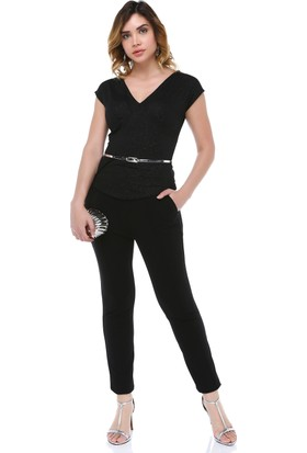 B&S Line Siyah Simli Tulum Elbise