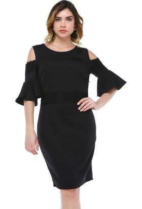 B&S Line Omuzu Açık Siyah Dantel Detaylı Volanlı Elbise