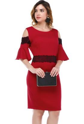 B&S Line Omuzu Açık Kırmızı Dantel Detaylı Volanlı Elbise