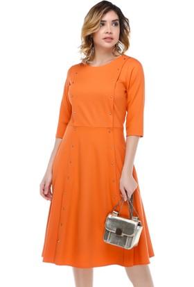 B&S Line Turuncu Boydan Taşlı Elbise