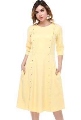 B&S Line Sarı Boydan Taşlı Elbise