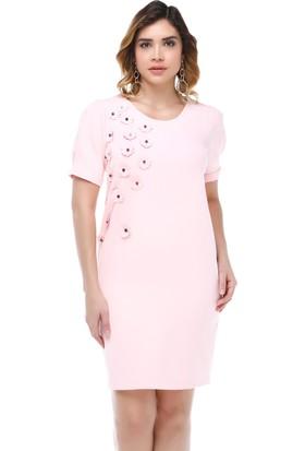 B&S Line Çiçek ve Taş Detaylı Pudra Elbise