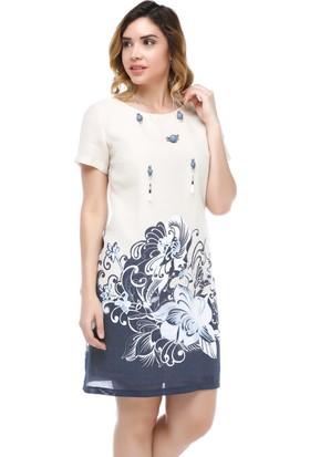 B&S Line Bej Dijital Gül Baskılı Elbise