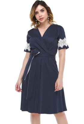 B&S Line Lacivert Puanlı Dantel Detaylı Kuşaklı Elbise