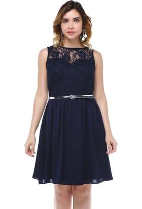 B&S Line Lacivert Dantelli Kemerli Elbise