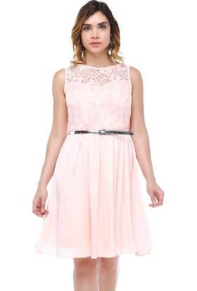 B&S Line Pudra Dantelli Kemerli Elbise