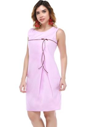 B&S Line Lila Deri Efektli Biyeli Elbise