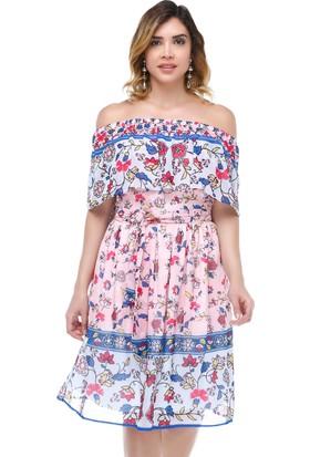 B&S Line Pelerinli Kemerli Pudra Şifon Elbise