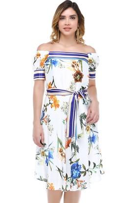 B&S Line Omuzu Lastikli Beyaz Çiçekli Kuşaklı Elbise