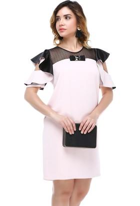 B&S Line Robası Dantelli Kol Detaylı Pudra Elbise