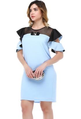 B&S Line Robası Dantelli Kol Detaylı Mavi Elbise