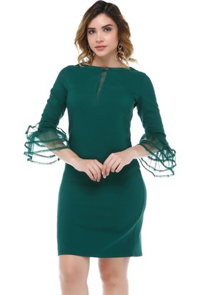 B&S Line Yeşil Kol Detaylı Dantel Taşlı Elbise