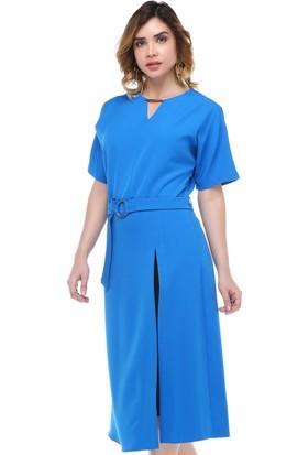 B&S Line Büyük Beden Pilise Detaylı Mavi Elbise