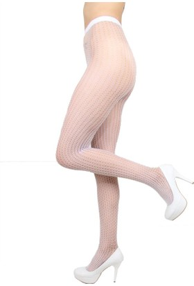 Mite Love Külotlu Çorap Örümcek File Beyaz