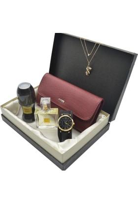 Spectrum Kadın Kol Saati Seti Bordo - Saat - Avon Parfüm - Deri Cüzdan - Kolye