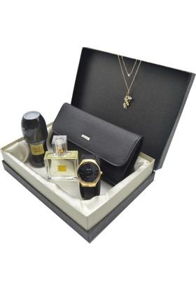 Spectrum Kadın Kol Saati Seti Siyah- Avon Parfüm - Deri Cüzdan - Kolye