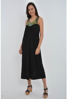 Rodin Hills Siyah Hazır Yaka Elbise 200090