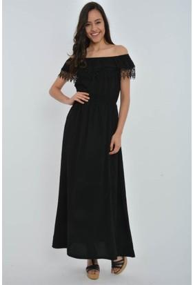 Rodin Hills Siyah Madonna Yaka Uzun Elbise 100983