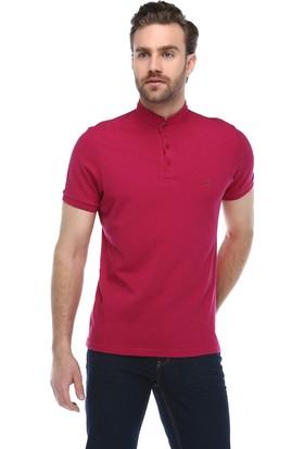 Brango 40127-6 Hakim Yaka Desenli Fuşya T-Shirt