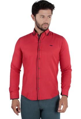 Brango 12309-13 Dar Kesim Yaka Biyeli Kırmızı Gömlek