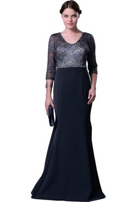 Pierre Cardin Lacivert Taş İşlemeli Dantel Uzun Balık Abiye Elbise