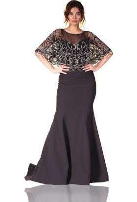 Pierre Cardin Siyah Pelerinli Kasnak İşlemeli Balık Abiye Elbise