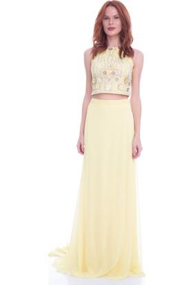 Pierre Cardin Sarı Taş İşlemeli Büstiyer Abiye Elbise