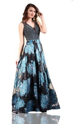 Pierre Cardin Mavi Kristal Taş İşlemeli Prenses Abiye Elbise