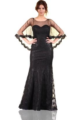 Pierre Cardin Siyah Pelerinli Dantelli Balık Abiye Elbise