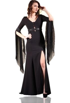 Pierre Cardin Siyah Derin Yırtmaçlı Piliseli Balık Abiye Elbise