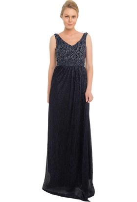 Pierre Cardin Lacivert Moonlight Dantel İşleme Uzun Abiye Elbise