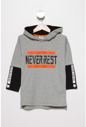 Defacto Erkek Çocuk Kapşonlu Yazı Baskılı Sweatshirt