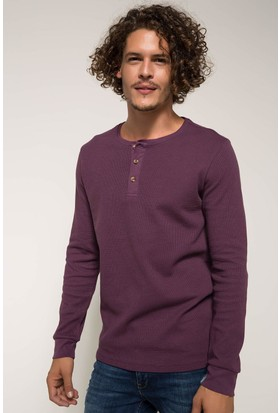 Defacto Erkek Sıfır Yaka Slim Fit Sweatshirt