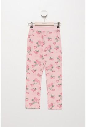 Defacto Kız Çocuk Çiçek Desenli Rahat Kesim Pantolon