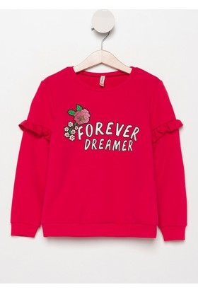 Defacto Kız Çocuk Kolları Fırfır Detaylı Yazı Baskılı Sweatshirt