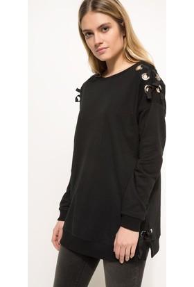 Defacto Kadın Kuş Gözü Detaylı Sweatshirt