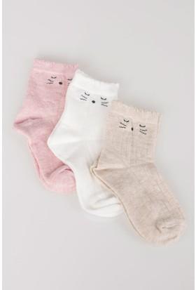 Defacto Kız Çocuk 3'Lü Uzun Çorap