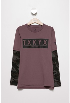 Defacto Erkek Çocuk Mini Me Kolları Kamuflaş Desenli Uzun Kollu T-Shirt