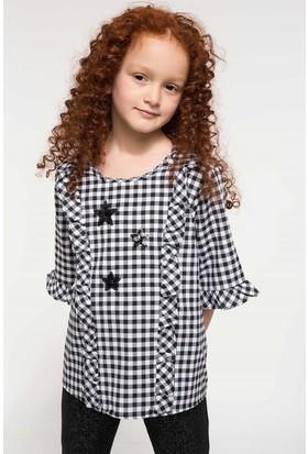 Defacto Kız Çocuk Fırfır Detaylı Ekose Bluz