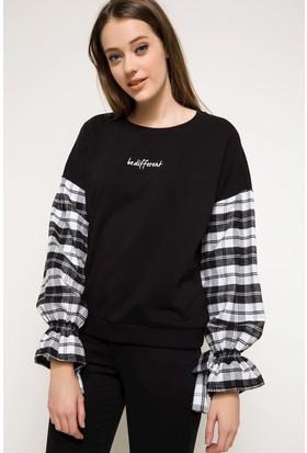 Defacto Kadın Kol Detaylı Sweatshirt