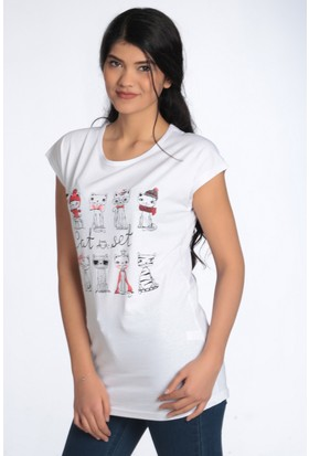 Sosyete Pazarda Kadın Tshirt Cat Friends