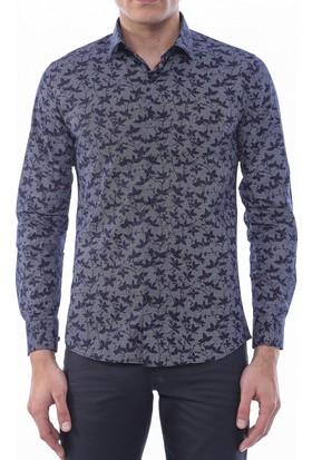 Wessi Erkek Kendinden Çiçek Desenli Siyah Slimfit Gömlek